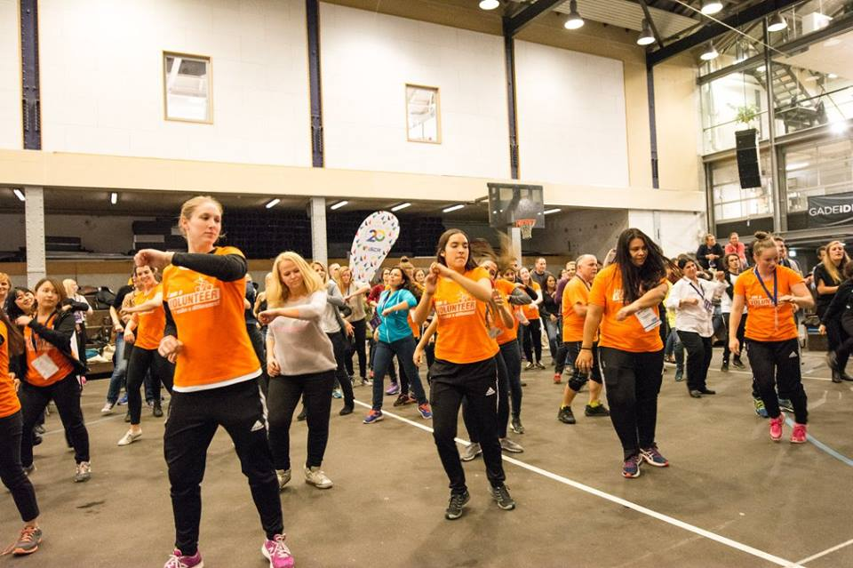 Students from the Ollerup Academy of Physical Education led the Let's Move flash mob at the 2015 MOVE Congress